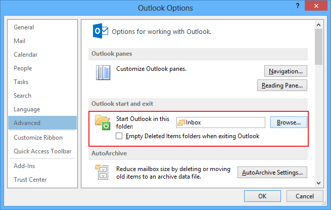 Outlook start in Outlook 2013