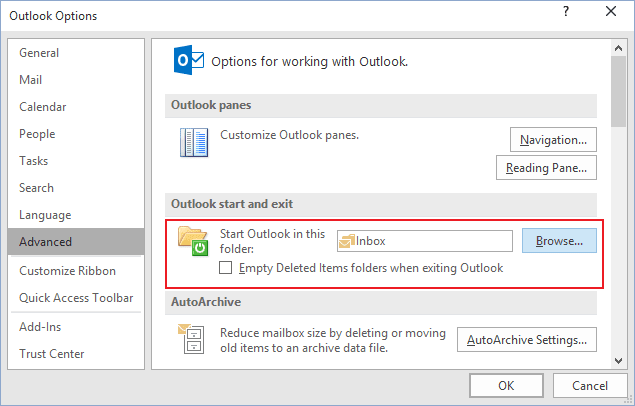 Outlook start in Outlook 2016