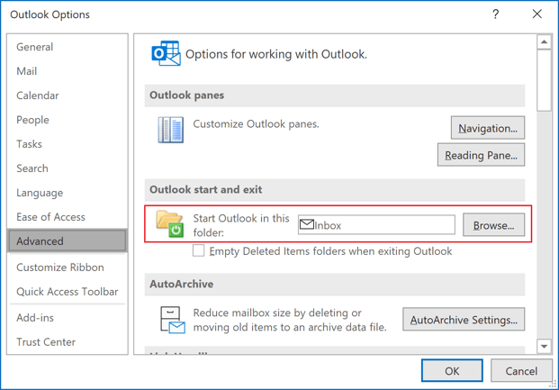 Outlook start in Outlook 365