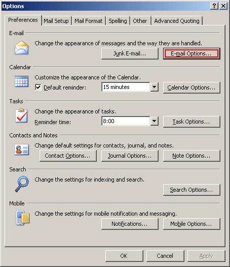 Options in Outlook 2007