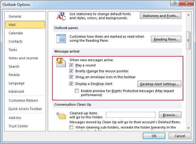 Options in Outlook 2010