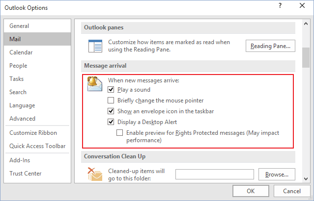 Options in Outlook 2016