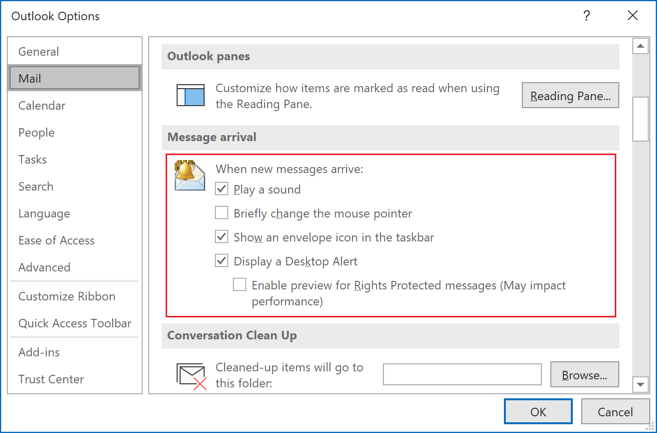 Options in Outlook 365