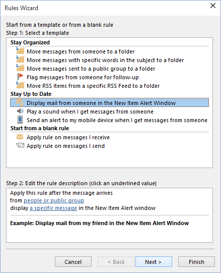 Rules Wizard in Outlook 2016