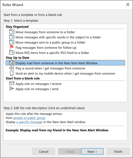 Rules Wizard in Outlook 365