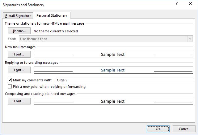 Signatures and Stationery in Outlook 365