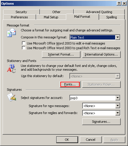 Options in Outlook 2003