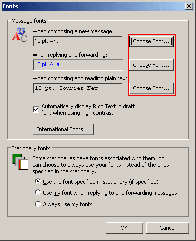 Fonts in Outlook 2003