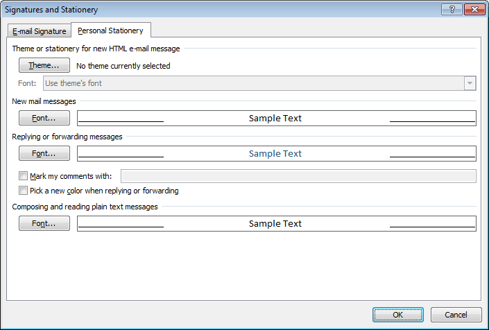 Signatures and Stationery in Outlook 2010