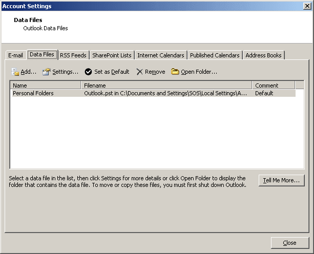 Outlook 2007 Data Files