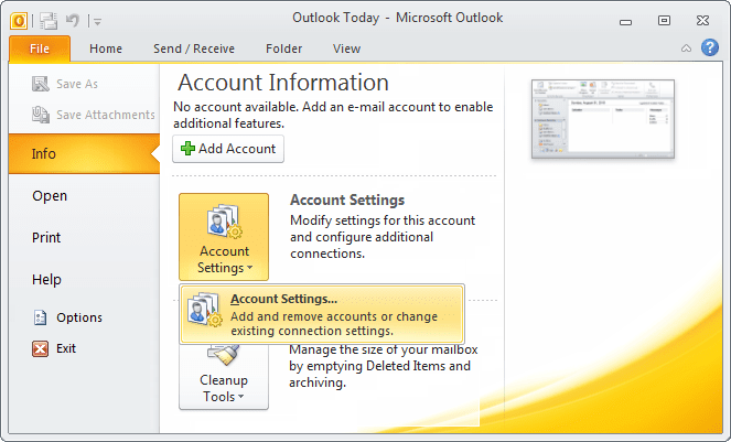 Account Settings in Outlook 2010