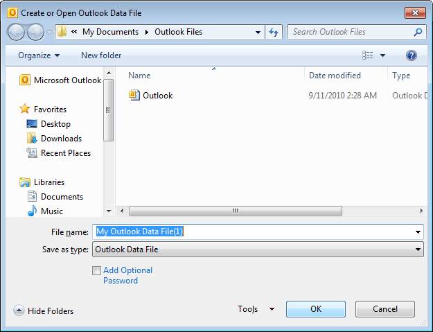 Create or Open Outlook 2010 Data File