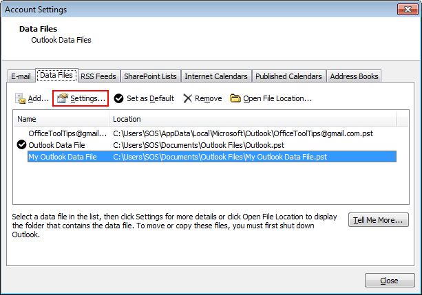 Data File Settings in Outlook 2010