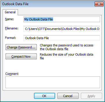 Outlook 2010 Data File Settings