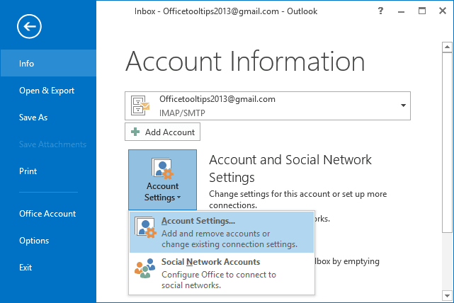 Account Settings in Outlook 2013