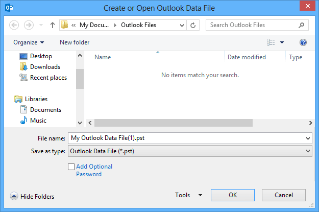 Create or Open Outlook 2013 Data File