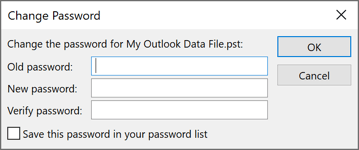 Change Password in Outlook 365 Data File Settings