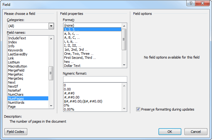 how to change total page numbers in word 2010
