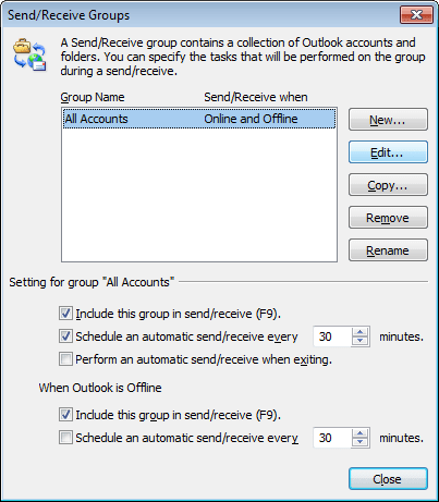 Send/Receive Groups in Outlook 2010