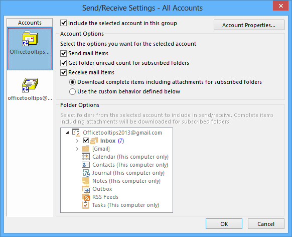 Send/Receive Settings Outlook 2013