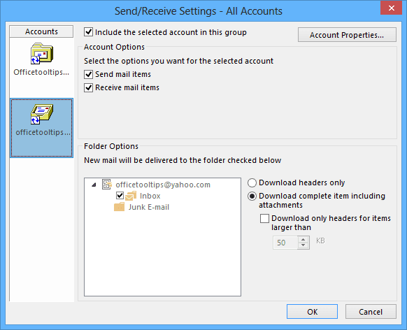Send/Receive Settings Outlook 2016