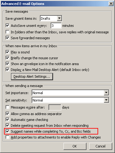 Advanced E-mail Options in Outlook 2003