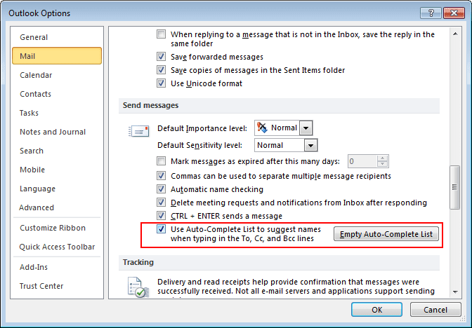Send messages Options in Outlook 2010