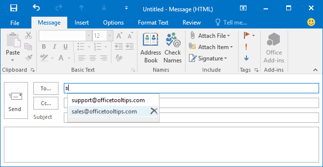 New message in Outlook 2016