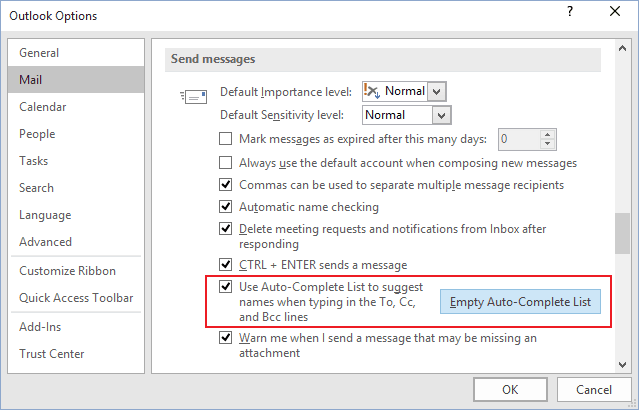 Send messages Options in Outlook 2016