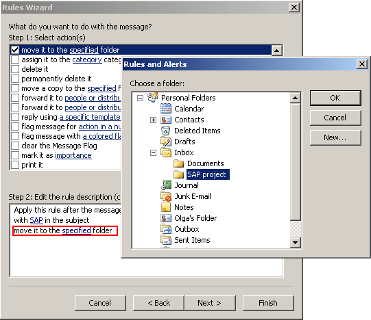Rules Wizard choose a folder in Outlook 2003