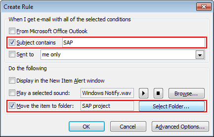 Create Rule in Outlook 2010