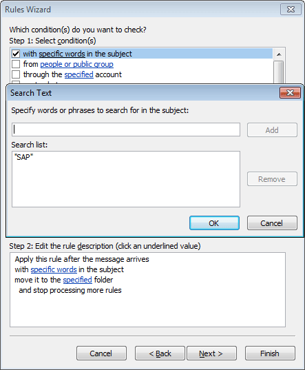 Rules Wizard Step 2 in Outlook 2010