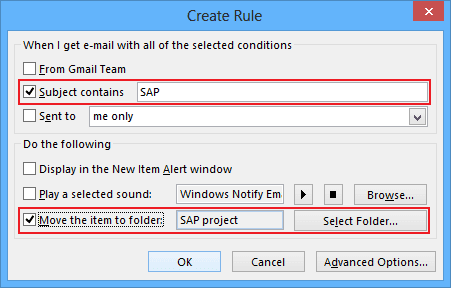 Create Rule in Outlook 2013