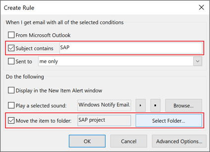 Create Rule in Outlook 365