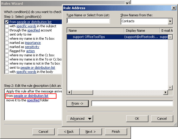 Rules Wizard Step 2 in Outlook 2003