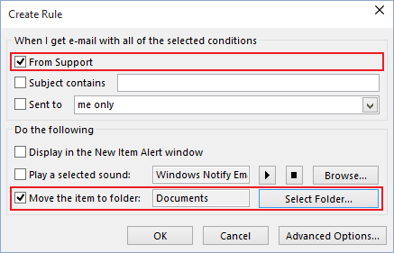 Create Rule in Outlook 2016