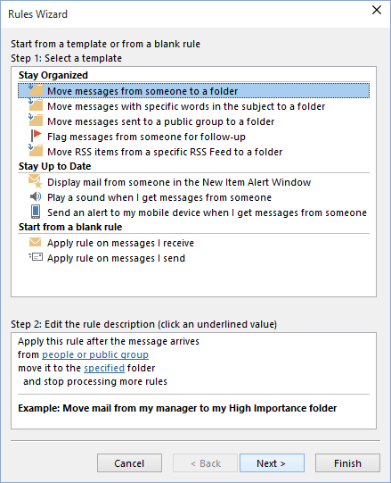 Rules Wizard Step 1 in Outlook 2016