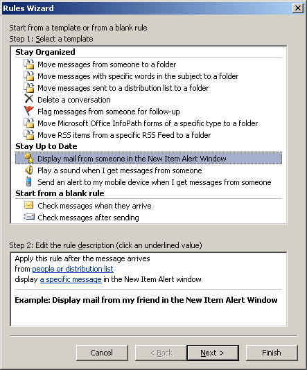 Rules Wizard Step 1 in Outlook 2007