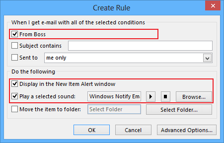 how to create rules in outlook 2013