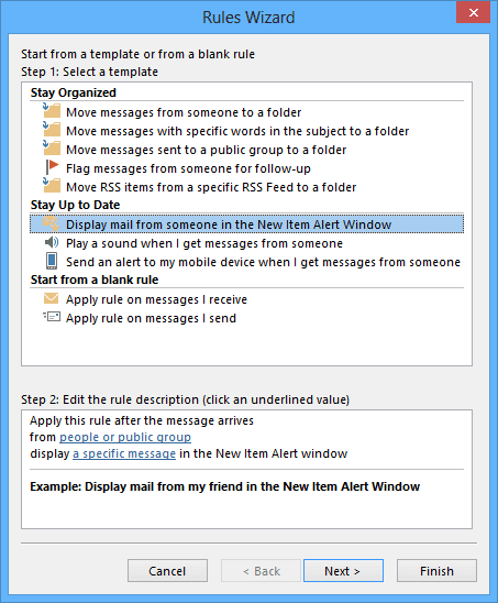 Rules Wizard Step 1 in Outlook 2013