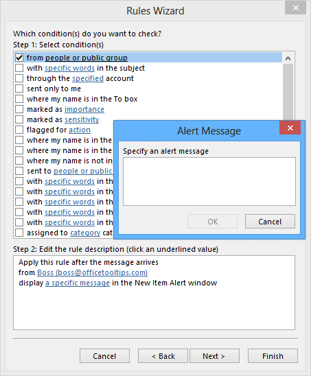 Rules Wizard Alert Message in Outlook 2013