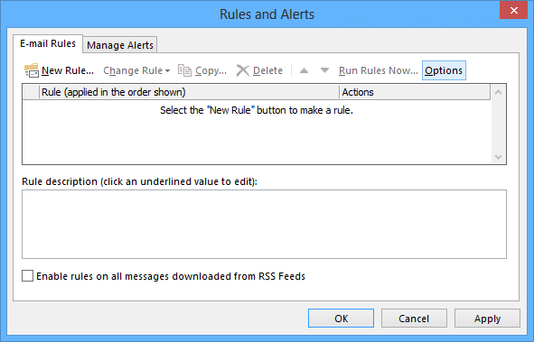 Options Rules and Alerts button in Outlook 2013