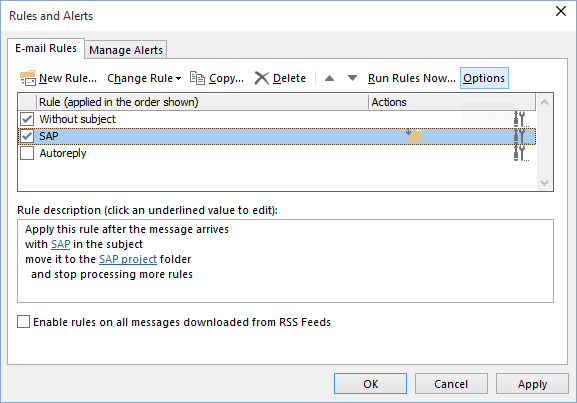 Options Rules and Alerts button in Outlook 2016