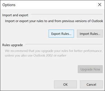Rules and Alerts Options in Outlook 365