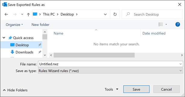Save Exported Rules as in Outlook 365
