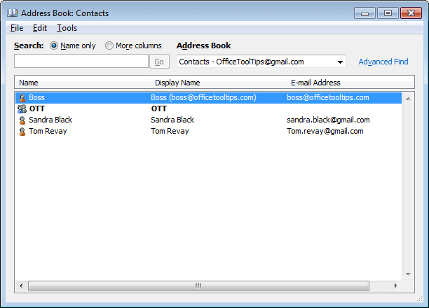 Address Book in Outlook 2010