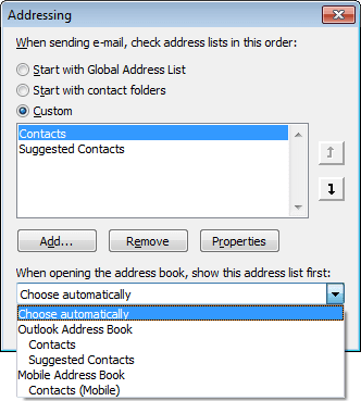 Addressing list in Outlook 2010