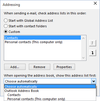Addressing list in Outlook 2016
