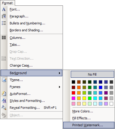 Page Background in Word 2003