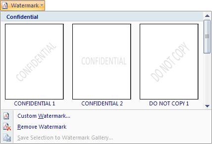 watermark in word 2007